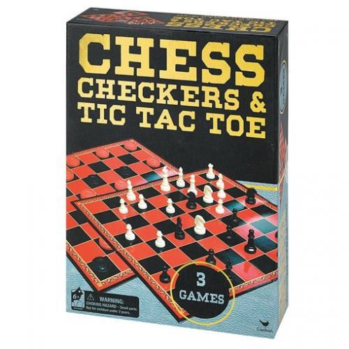 """Набор из трех настольных игр  """"Шахматы, шашки и крестики-нолики"""" (Уценка)"""