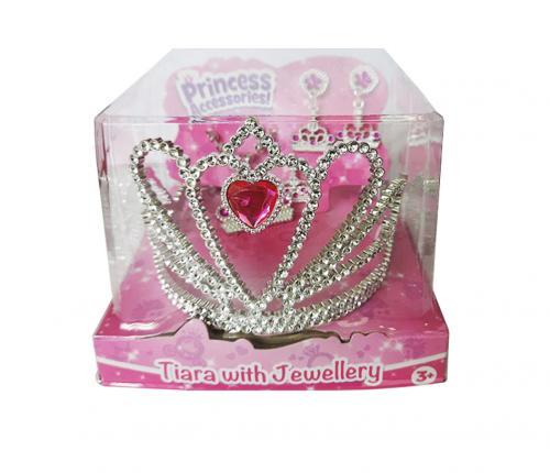 Набор аксессуаров для девочки (диадема, серьги, кулон и кольцо) с розовыми стразами (Уценка)